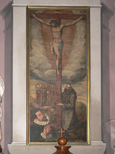 Tableau : Remise par saint François d'Assise de la cordelière du tiers ordre franciscain à un donateur
