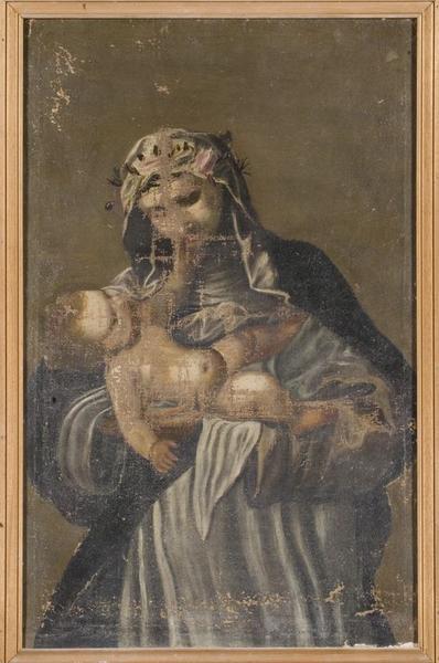 Ensemble de deux tableaux (en pendant) : Sainte Catherine de Sienne et l'Enfant Jésus et saint Pierre de Vérone (?)