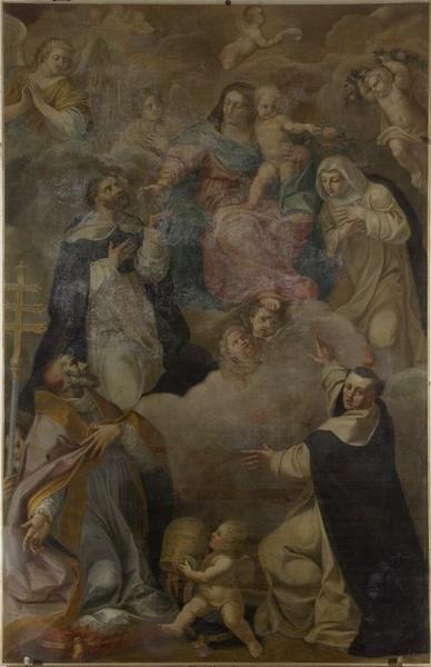 Tableau : Remise du Rosaire à saint Dominique et sainte Catherine de Sienne en présence de saint Vincent Ferrier et de saint Pie V
