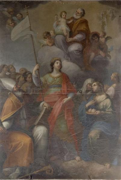 Tableau : Apparition de saint Joseph et l'Enfant Jésus à sainte Ursule et ses compagnes en présence d'un saint évêque, des saintes Agathe, Appoline et Lucie