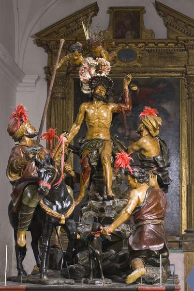 groupe sculpté de procession : Le supplice de saint Barthélémy