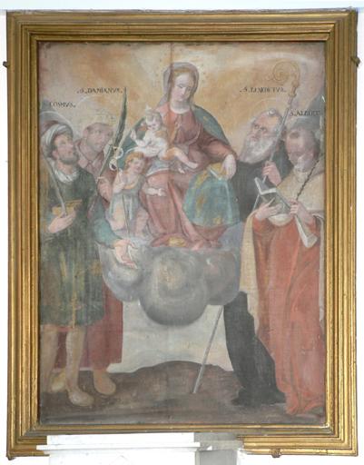 tableau d'autel : Vierge à l'Enfant et saint Jean-Baptiste enfant entourés des saints Côme, Damien, Benoît et Albert