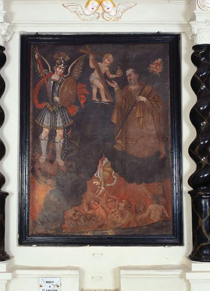 Tableau d'autel : Intercession de saint Joseph auprès de l'Enfant Jésus en faveur des Ames du Purgatoire, en présence de saint Michel terrassant le démon