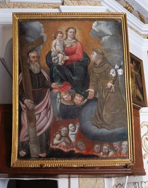 Tableau : Intercession de saint André et de saint Antoine de Padoue auprès de la Vierge à l'Enfant en faveur des Ames du Purgatoire