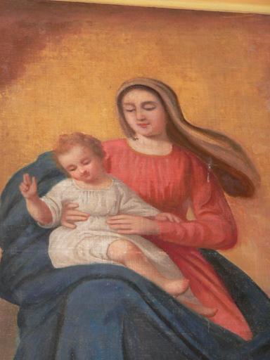 tableau d'autel : Apparition de la Vierge à l'Enfant à saint Cyr enfant accompagné de sainte Julitte en présence de saint Nicolas de Bari