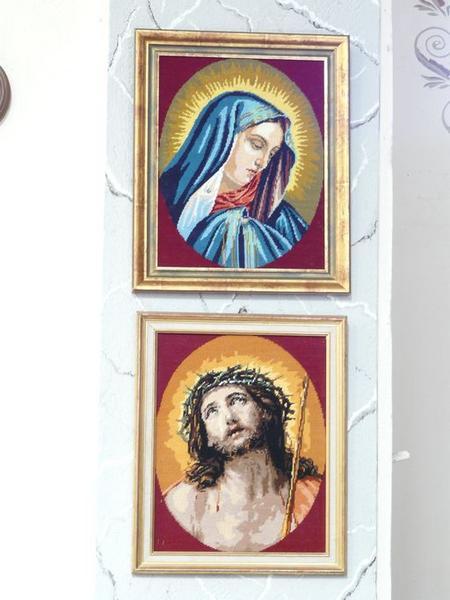 Tableaux de broderie : Ecce Homo et Vierge de Douleur