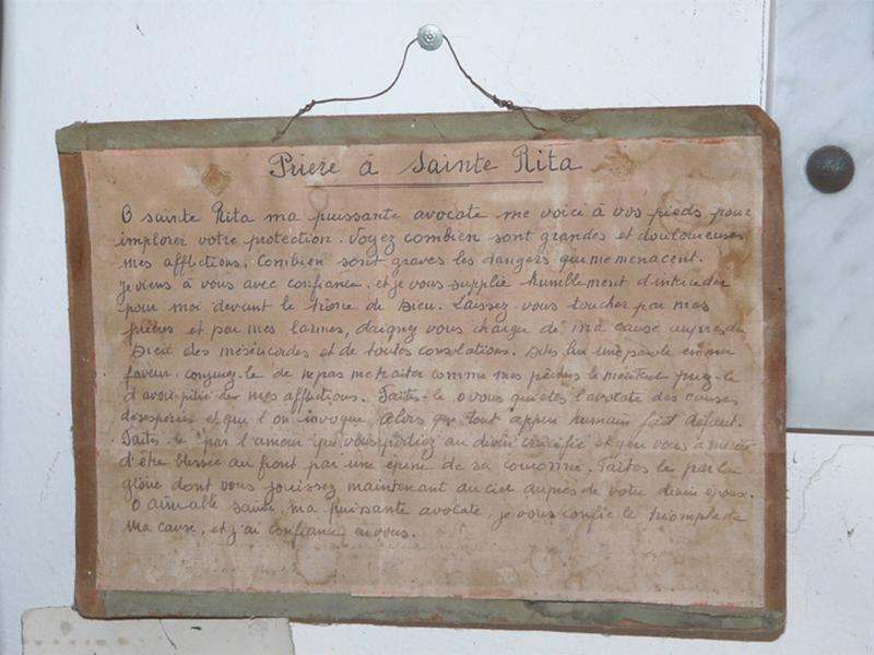 manuscrit : Prière à sainte Rita