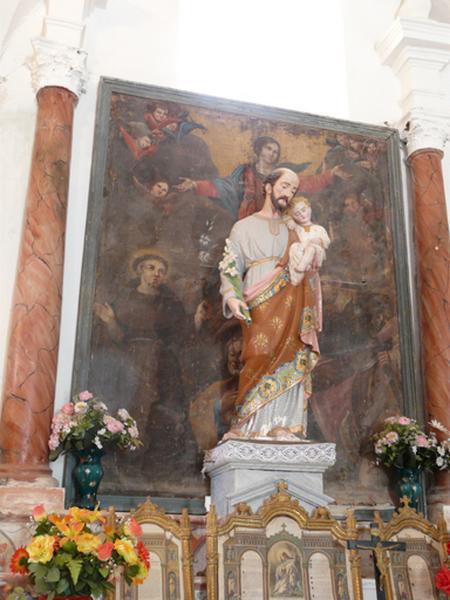 tableau d'autel : Assomption de la Vierge en présence de saint Antoine de Padoue, saint Joseph et saint Roch