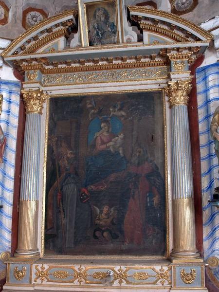 Tableau d'autel : Saint Nicolas et saint Antoine abbé aux pieds de la Vierge à l'Enfant