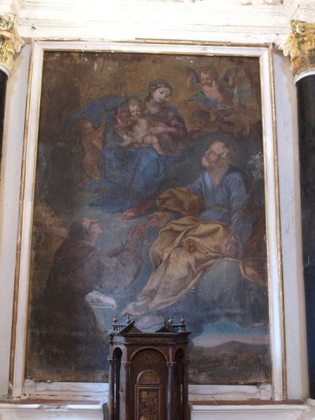 Tableau d'autel : Apparition de Notre Dame du Mont Carmel à saint Joseph, saint Antoine de Padoue et saint Nicolas