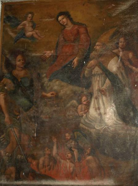 Tableau d'autel : Intercession de saint Michel et saint Nicolas auprès de la Vierge en faveur des âmes du Purgatoire