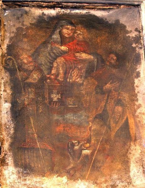 Tableau d'autel : Apparition de Notre-Dame du Mont Carmel à saint Roch et saint Nicolas