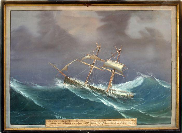 Ex-voto (tableau) : Navire Jeune Baptistin assailli par un ouragan