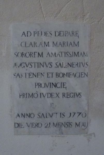 Dalle funéraire de Chiara Maria Salineri
