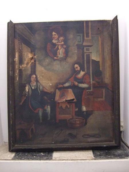 Tableau : Apparition de la Vierge à l'Enfant à saint Crépin et saint Crépinien dans leur atelier de cordonniers