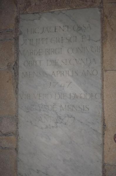 Dalle funéraire de Filippo Cresci et de son épouse Maria Birgi