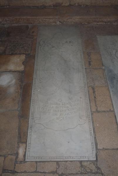 Dalle funéraire de Maria Francesca Pateri née Grilla