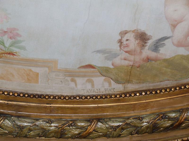 Décor intérieur : plafond peint signature Tayan (pinx)