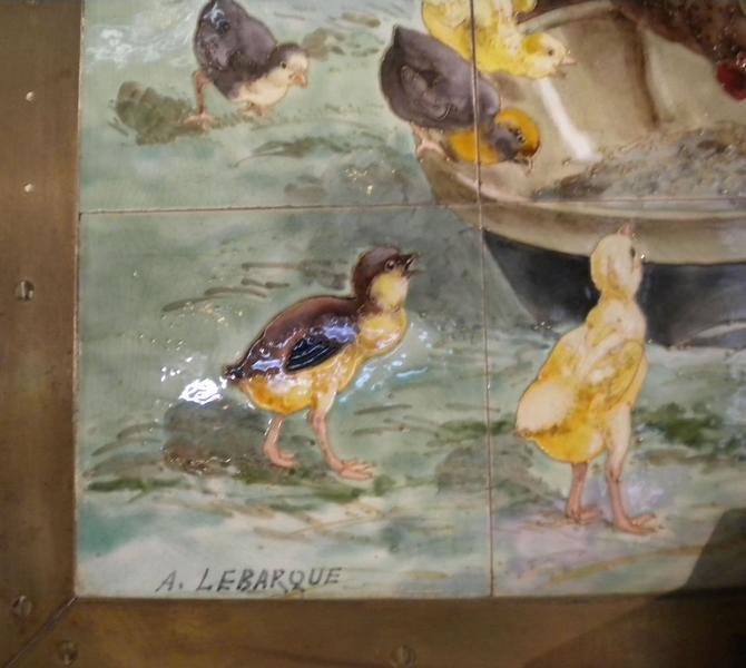 Décor intérieur ; panneau de carreaux de céramique ; signature A Lebarque