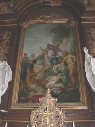 Clôture de choeur, clôture d'autel (appui de communion), maître-autel avec son tabernacle et son tableau d'autel : Jésus guérissant les malades, vantail de la porte d'entrée de la chapelle et garde-corps de la tribune