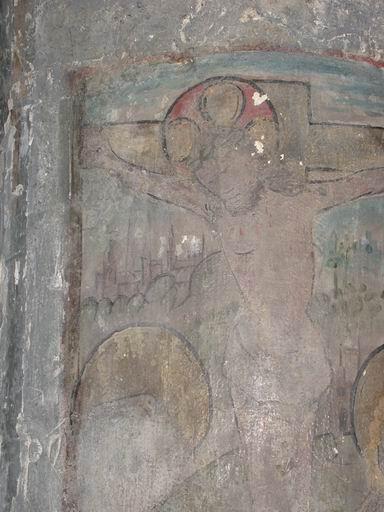 Peinture monumentale : Christ en croix entre la Vierge et saint Jean