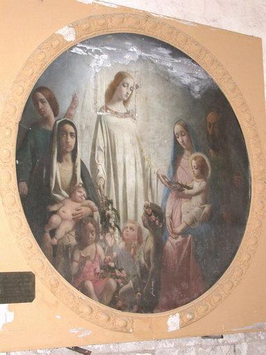 Tableau : Ange présentant la couronne d'épines à l'Enfant Jésus