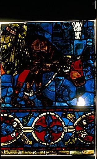 6 verrières figurées : scènes de la vie de la Vierge, donateur Gaufridus et sa famille (le), Prophètes (les), saint Pierre, saint Jean-Baptiste (baies 100 à 104, 106)