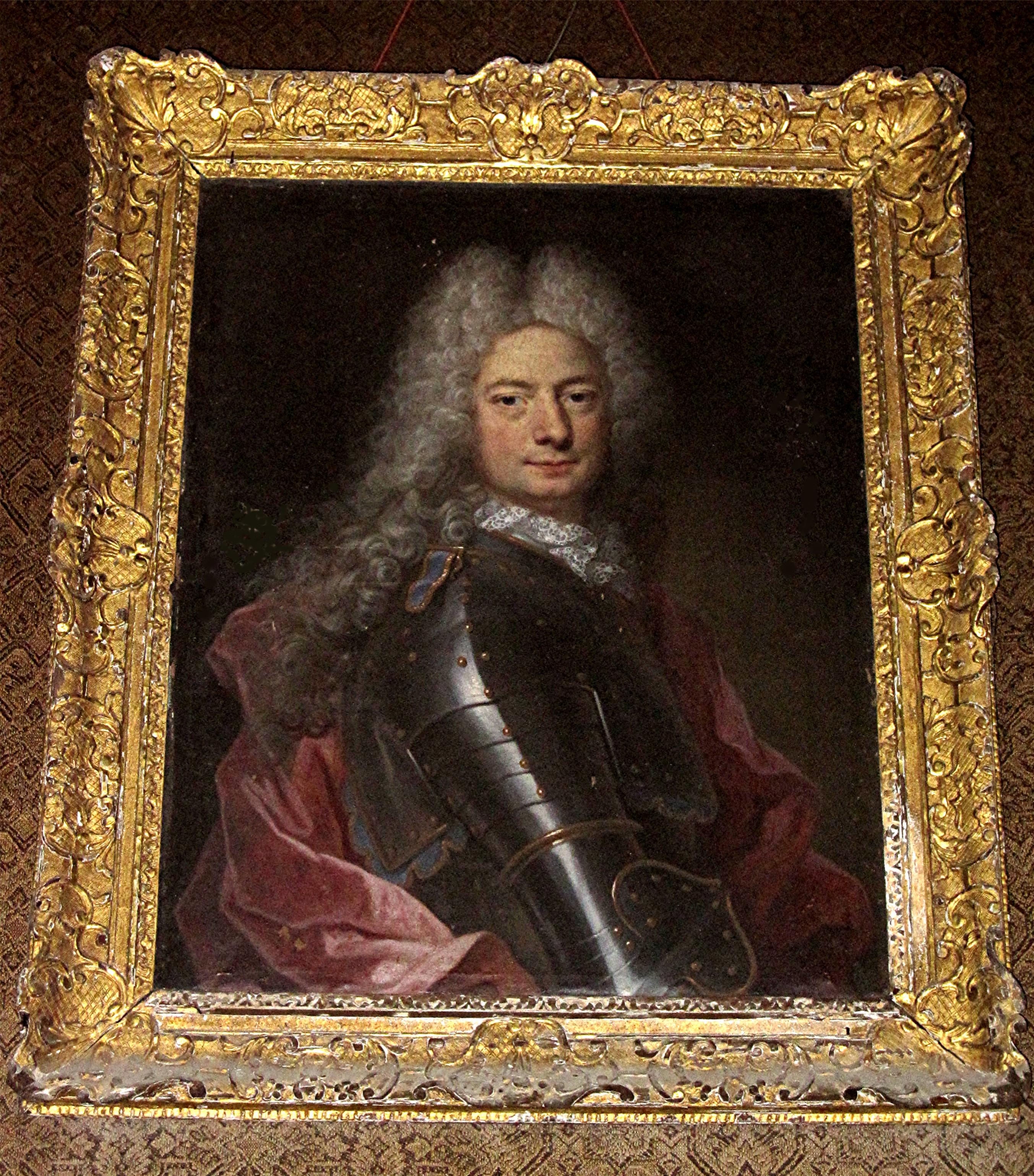 Tableau et son cadre : portait d'un homme en armure (Jacques Grandhomme de la Gannetière, frère de René Grandhomme ?)