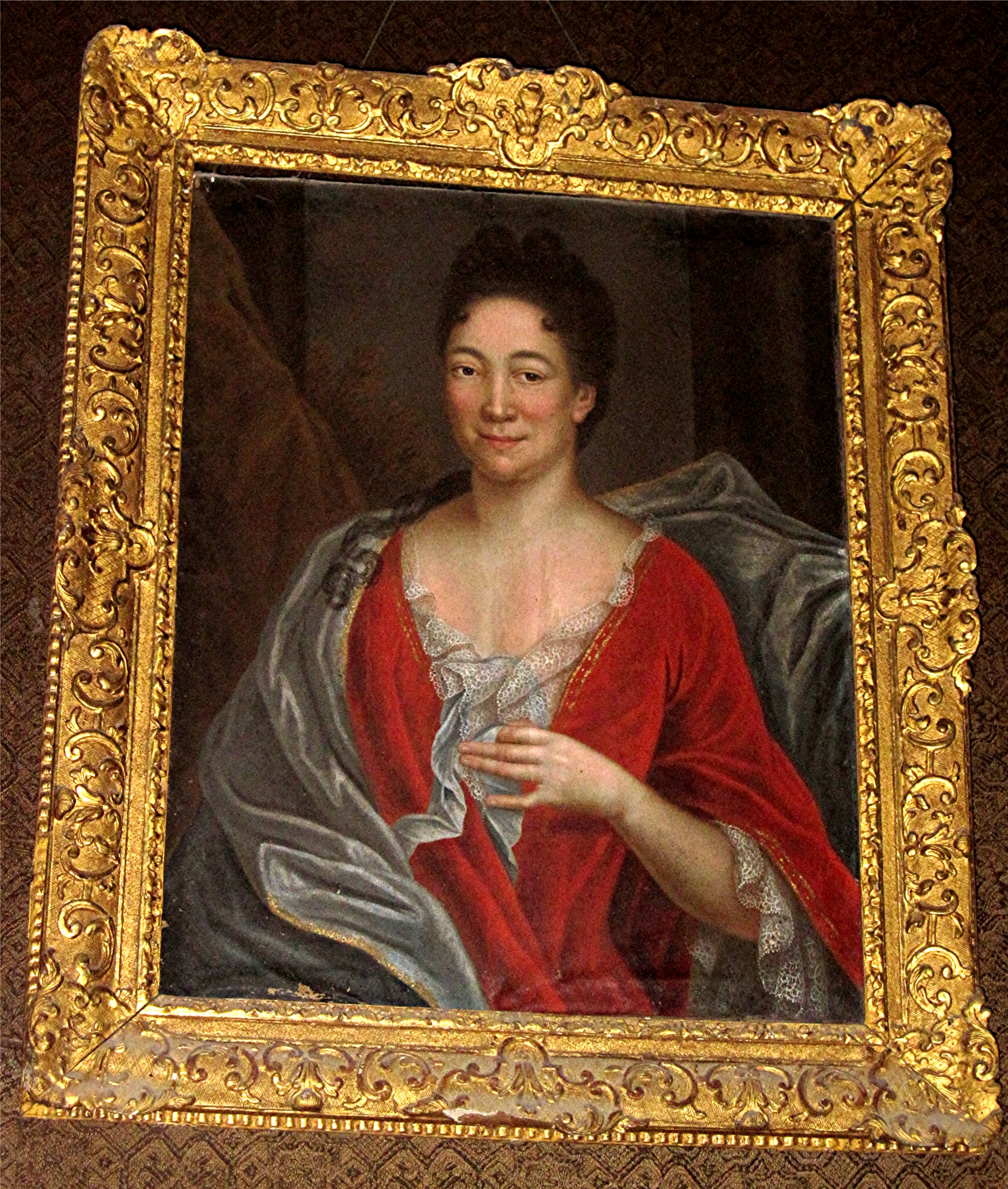 Tableau et son cadre : portrait d'une femme (Françoise le Pannetier, épouse de Jacques Grandhomme de la Gannetière ?)