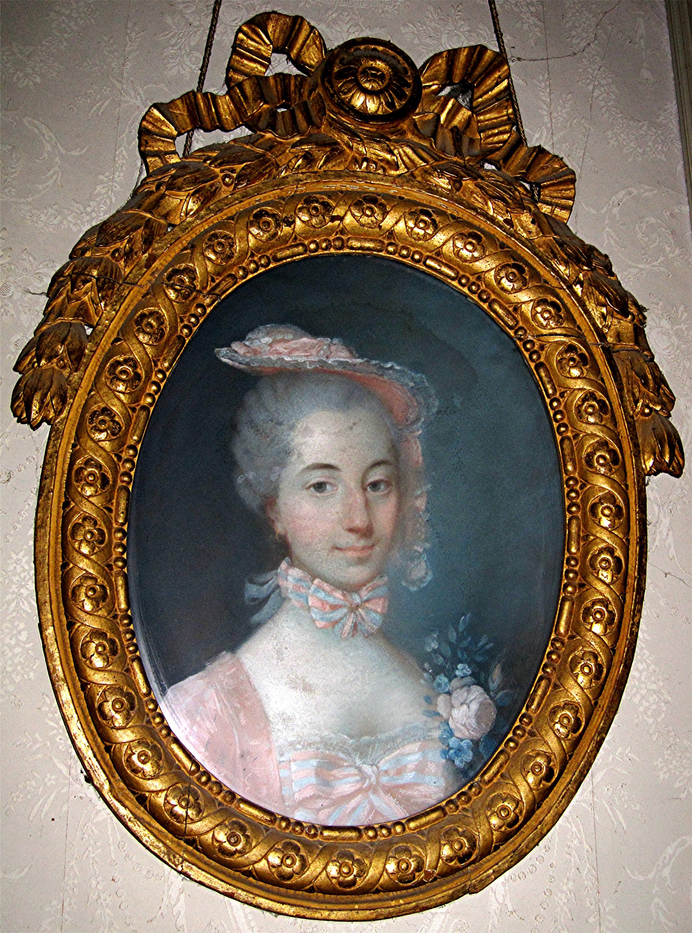 Tableau et son cadre : portrait de Marie-Anne-Renée-Jacqueline Grandhomme de Gizeux, duchesse de Brancas-Céreste