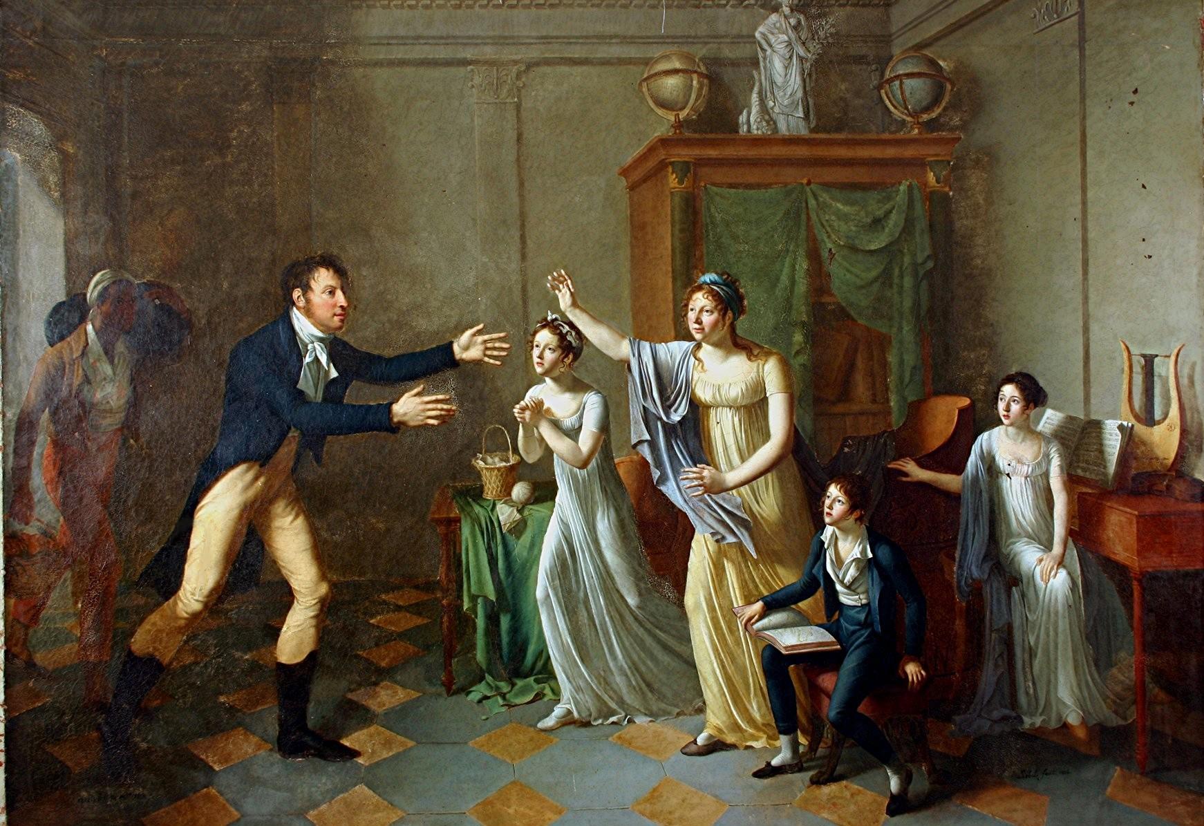Tableau et son cadre : Le retour de Louis-Gabriel de Contades-Gizeux dans sa famille