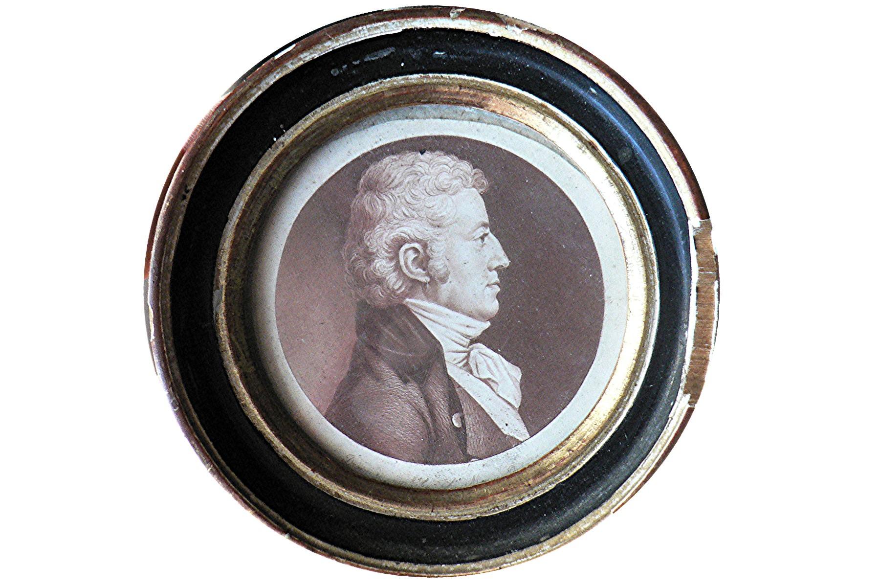 Tableau et son cadre : portrait (physionotrace) de Louis-Gabriel de Contades-Gizeux