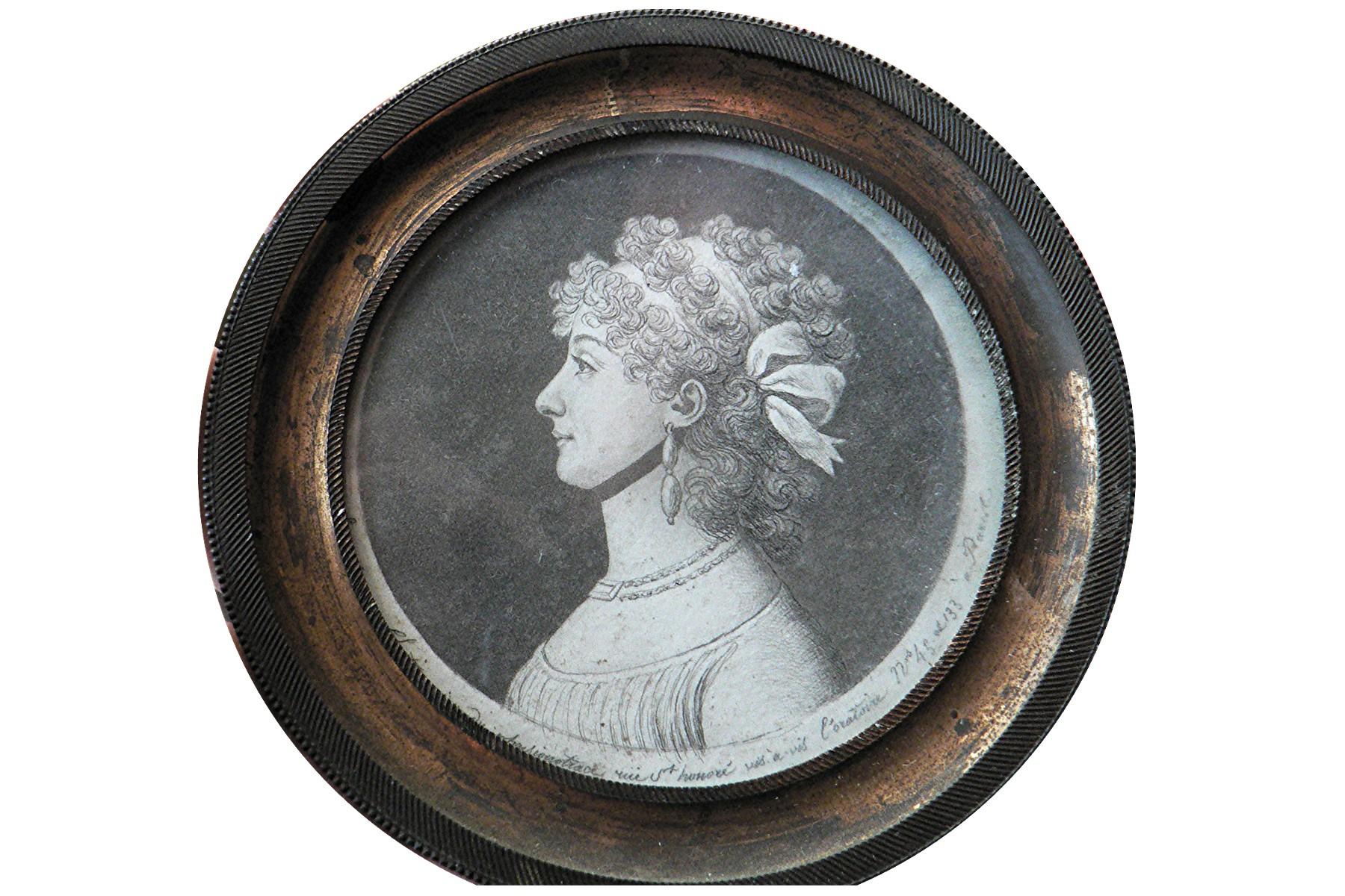 Tableau et son cadre : portrait (physionotrace) de Julie-Perrine Constantin de la Lorie, marquise de Contades-Gizeux