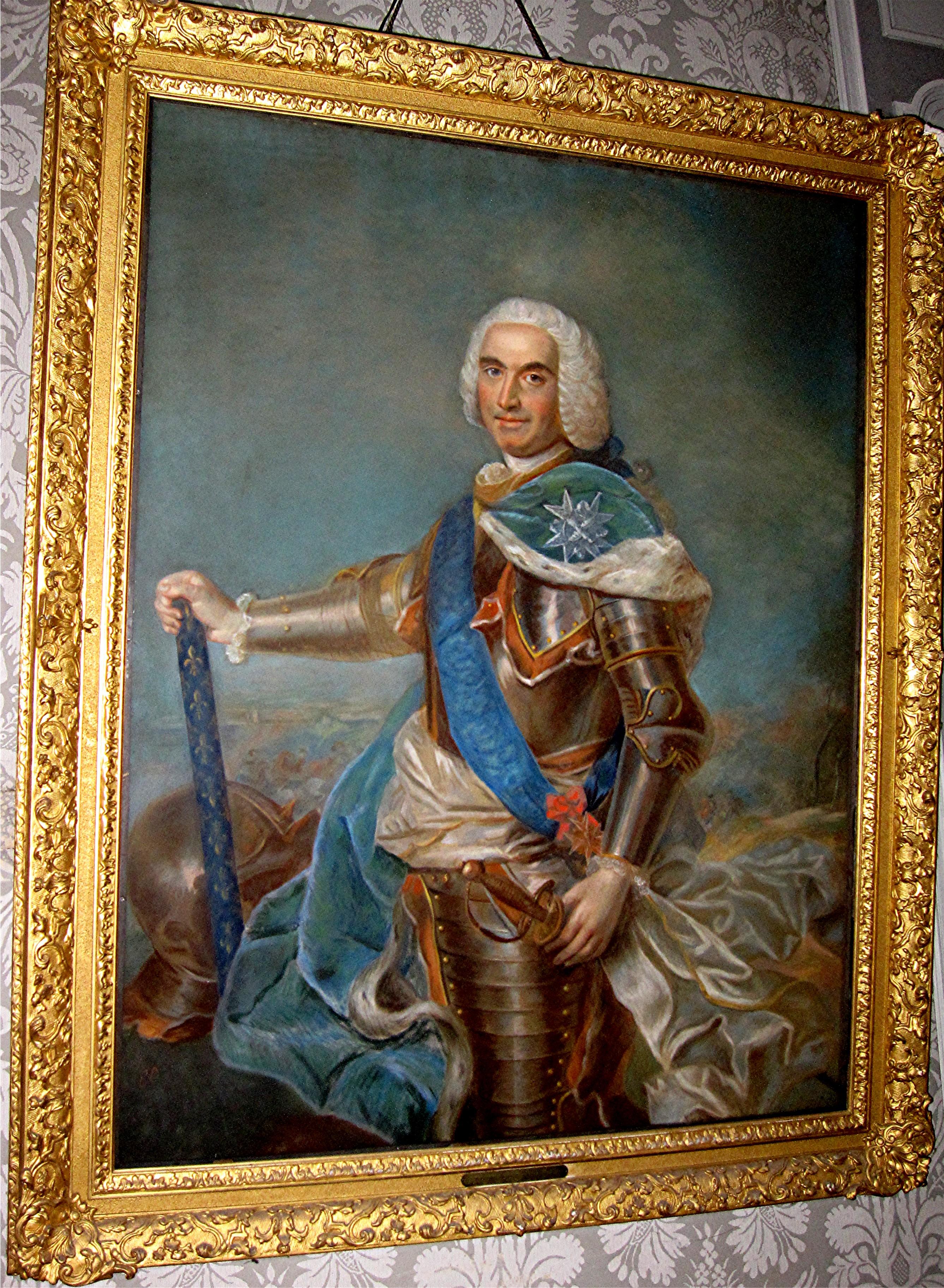 Tableau et son cadre : portrait en pied de Louis-Georges-Erasme de Contades, maréchal de France