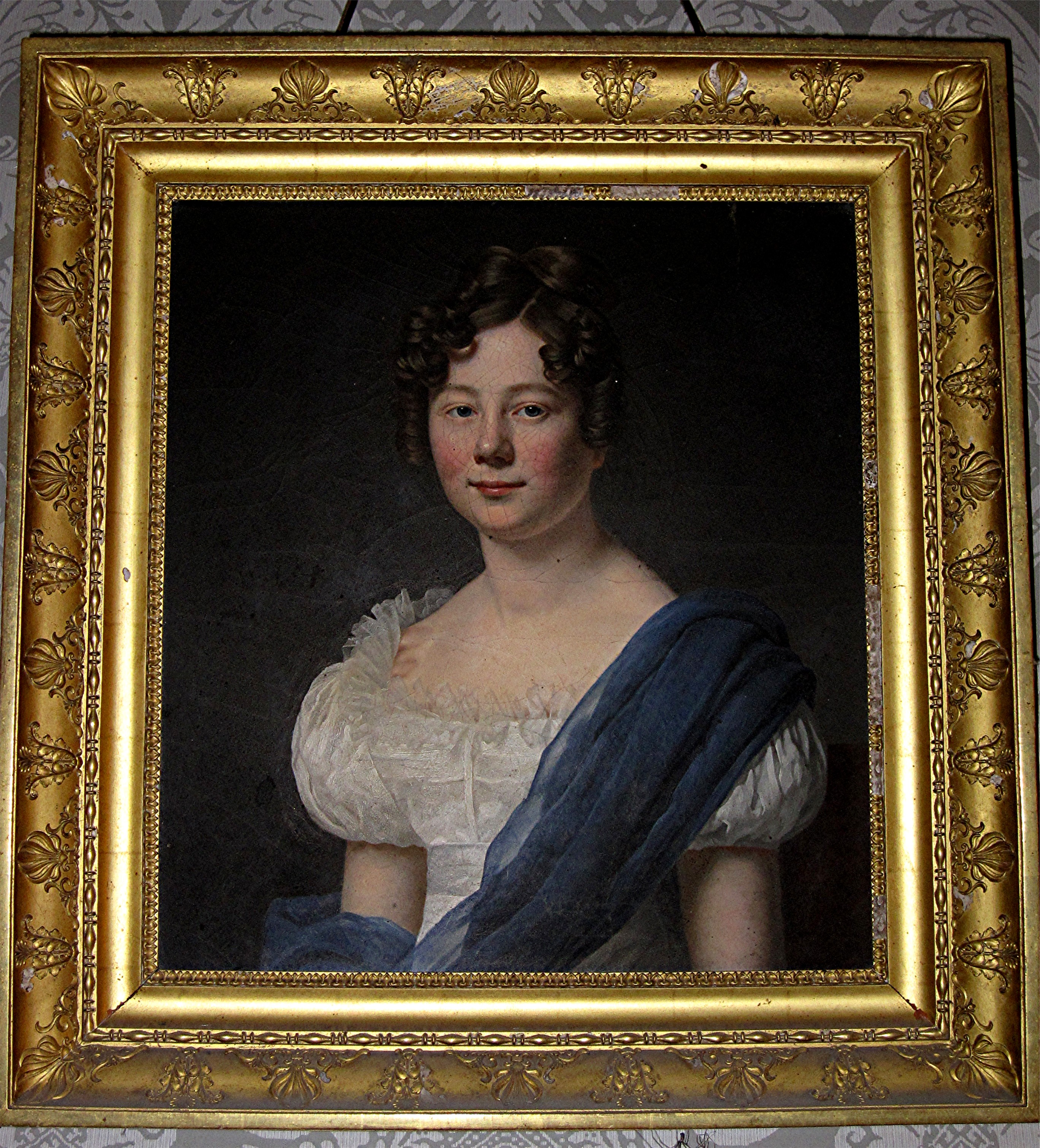 Tableau et son cadre : portrait d'Isabelle de Maillé de la Tourlandry, marquise de Contades-Gizeux
