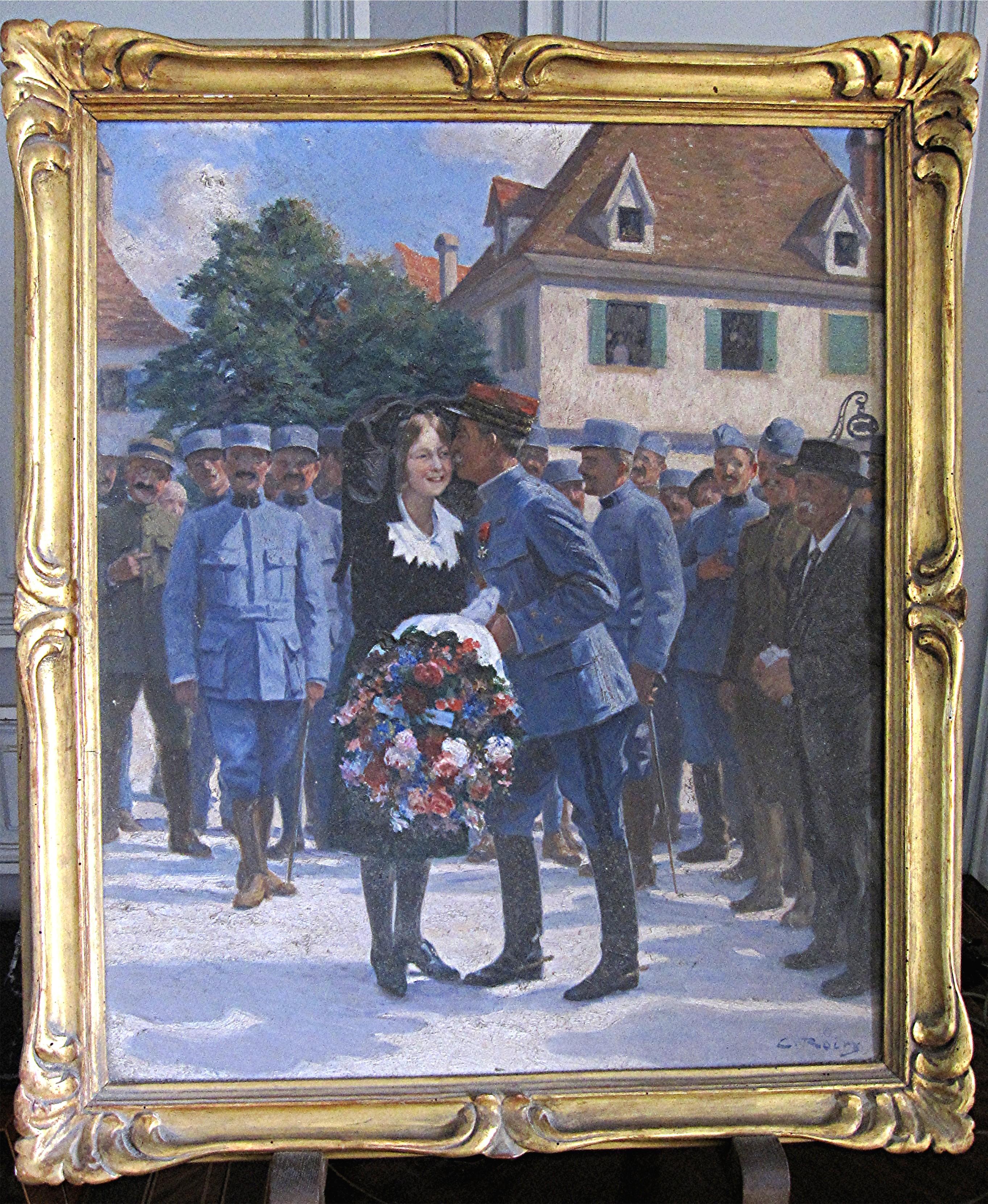 Tableau et son cadre : Le général et marquis de Contades-Gizeux au moment de la libération de l'Alsace