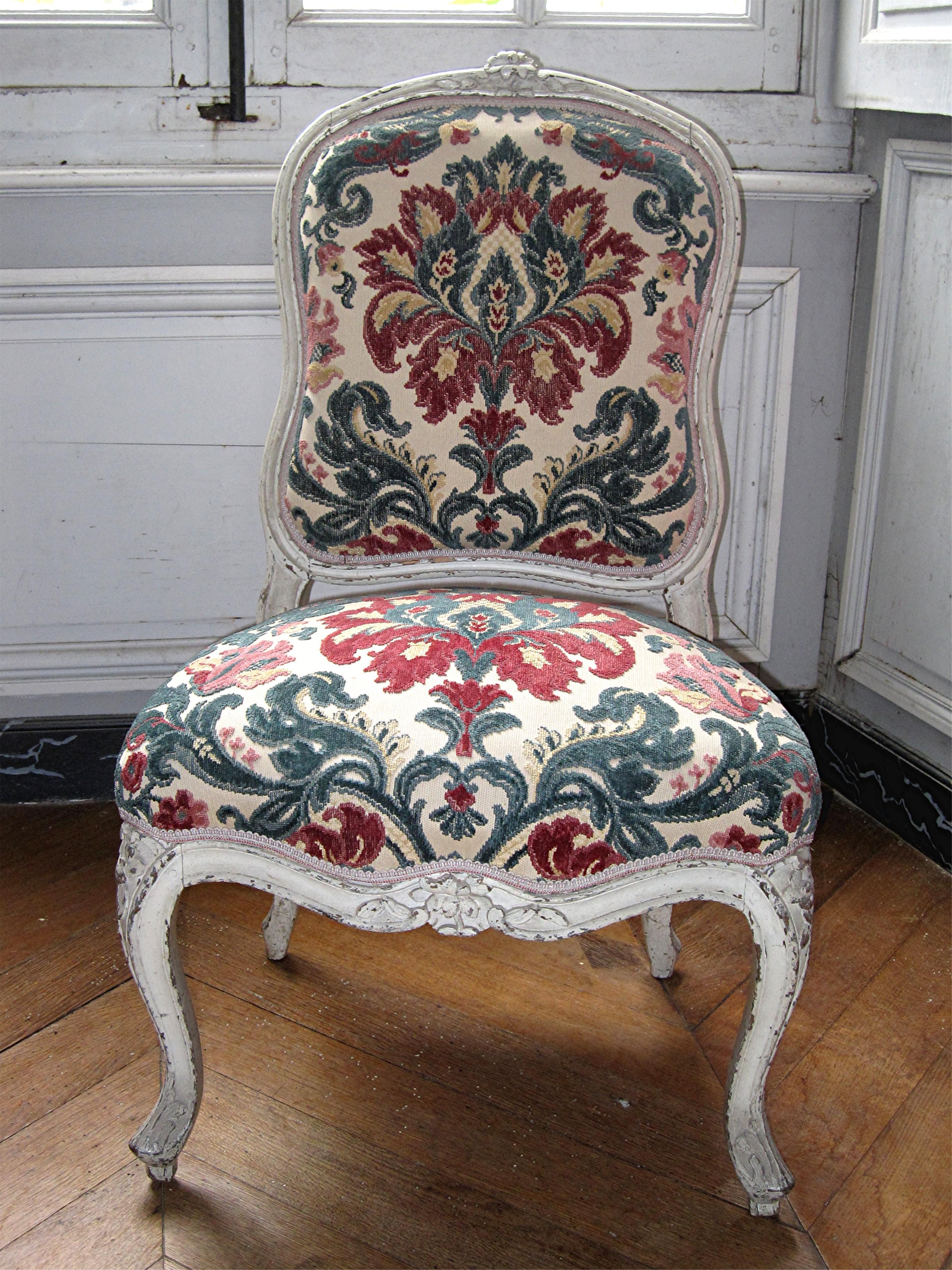 6 chaises à dossier plat Louis XV