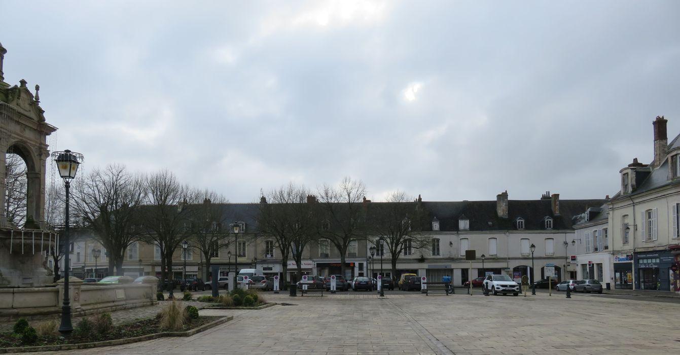 Immeubles: Ensemble des façades nord sur la place, vue générale