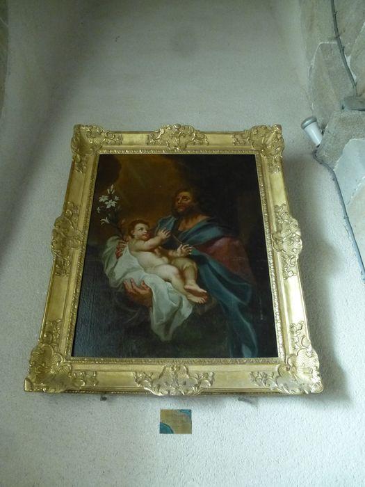 tableau et son cadre : Saint Joseph et l'Enfant Jésus