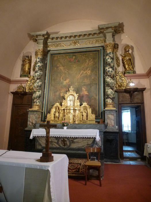 autel, retable, tabernacle, exposition, lambris de revêtement (boiserie), quatre statues : Saint Roch, Saint Germain, Evêque, Saint et deux statuettes : Saint Germain et Moine