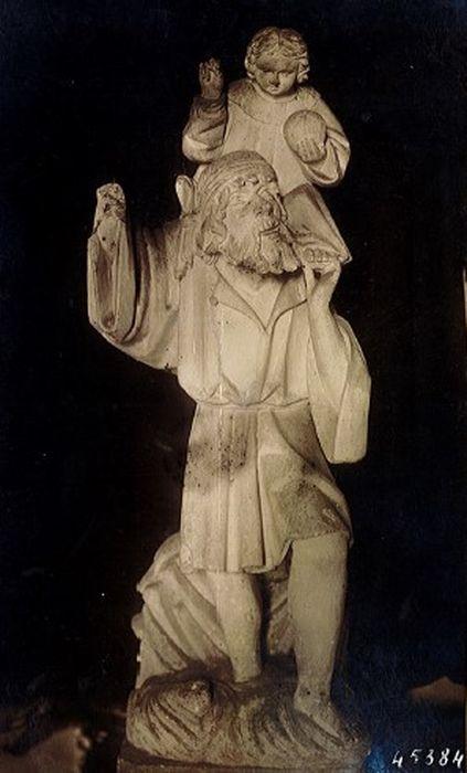 Groupe sculpté : Saint Christophe portant l'Enfant