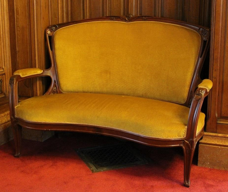 banquette n°1 (décor hortensia), couleur jaune
