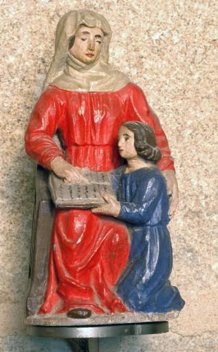 groupe sculpté (statuette) : Education de la Vierge