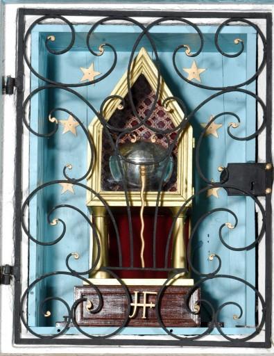Retable : Calvaire, saint Gaucher, saint Faucher, saint François Xavier, saint Ignace de Loyola