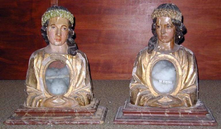Paire de bustes-reliquaires : saintes