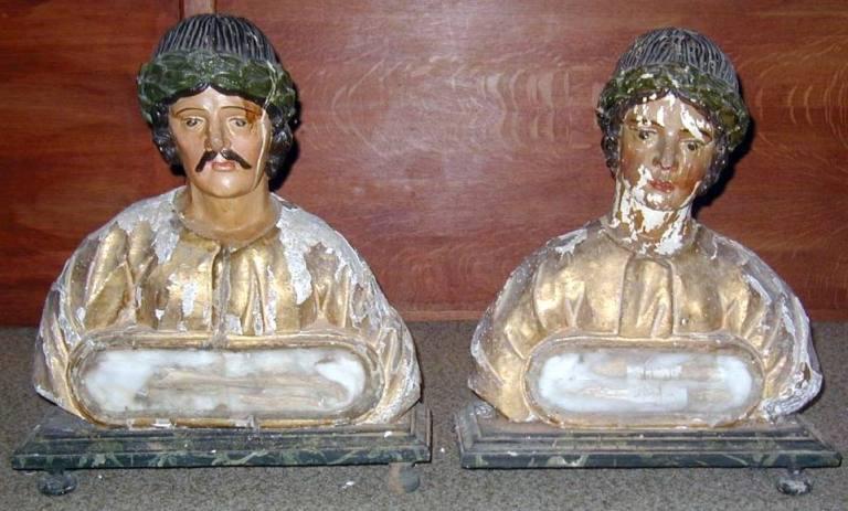 Paire de bustes-reliquaires : saints