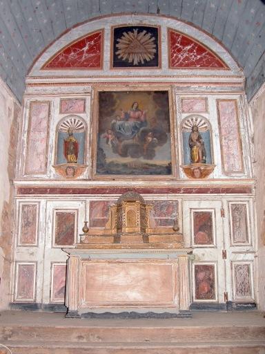 Ensemble du maître-autel (autel, 2 gradins d'autel, tabernacle, retable, tableau)