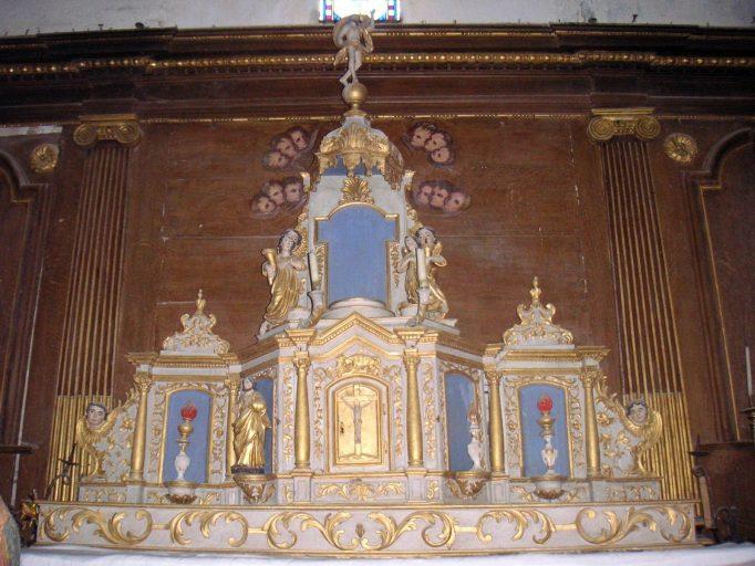 Gradin d'autel, tabernacle à ailes, exposition et leurs 4 statuettes (maître-autel)