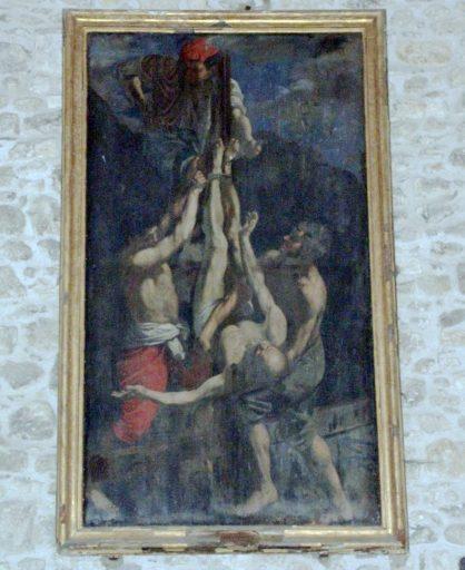 Tableau et cadre : le Crucifiement de saint Pierre