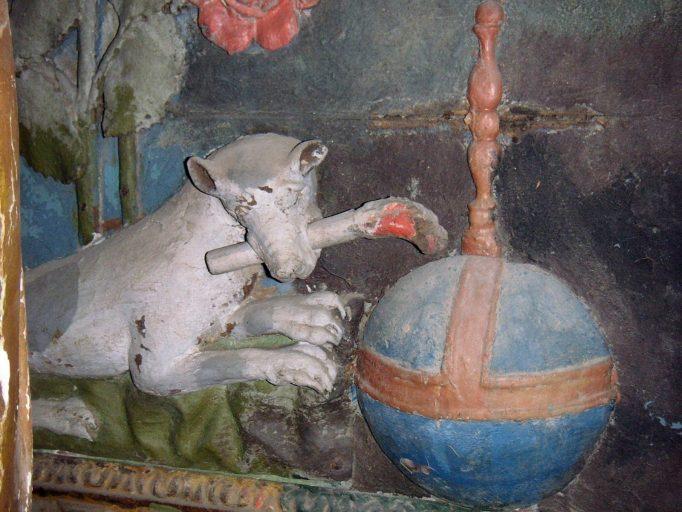 Autel, retable architecturé, tableau d'autel : la Remise du rosaire à saint Dominique, groupe sculpté : saint Roch et l'ange, statue : saint Sébastien (autel privilégié de la chapelle sud)